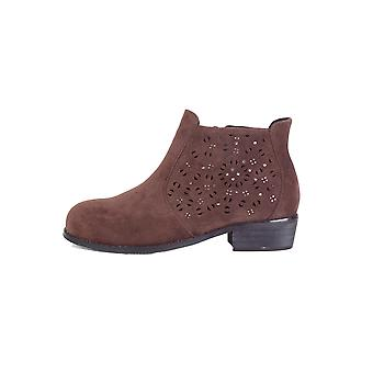 LMS Brown Suedette Flat Ankle Boot With Silver Studwork