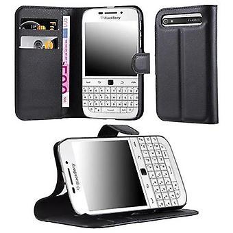 Cadorabo Caja para Blackberry Q20 en PHANTOM NEGRO - Funda de teléfono con cierre magnético, función de soporte y compartimiento de la tarjeta - Funda de funda de funda protectora Caso de libro plegable Estilo plegable Estilo plegable