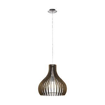 Eglo - Tindori seul plafond léger petit pendentif en finition Nickel satiné avec abat-jour en bois brun foncé EG96259