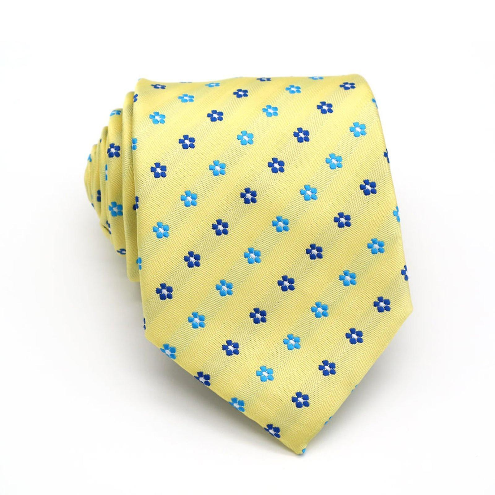 Canary yellow & blue floral tie & pocket square set