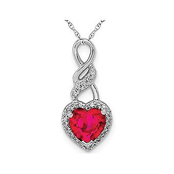 3/4 Carat (ctw) Natural Ruby Heart Pendant Necklace in 14K White Gold with Chain