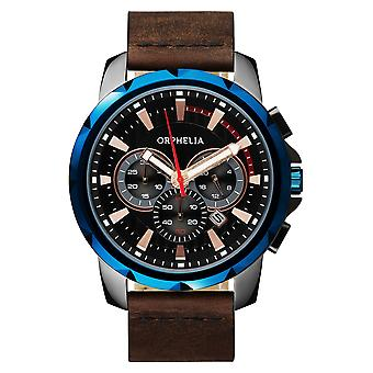 ORPHELIA Mens Chronograph Watch vijf zintuigen bruin leder OR81501