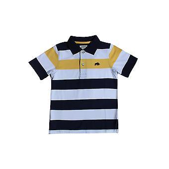 Kids Contrast Stripe Polo - White/Navy