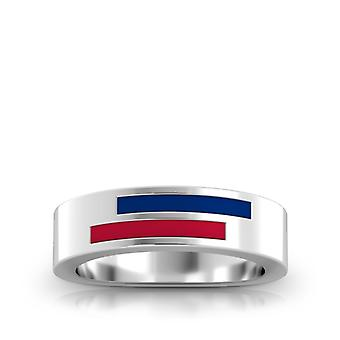 Texas Rangers Sterling Silver Asymmetric Enamel Ring In Blue and Red