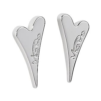 Miss Dee Silver Plated Solid Heart Stud Earrings