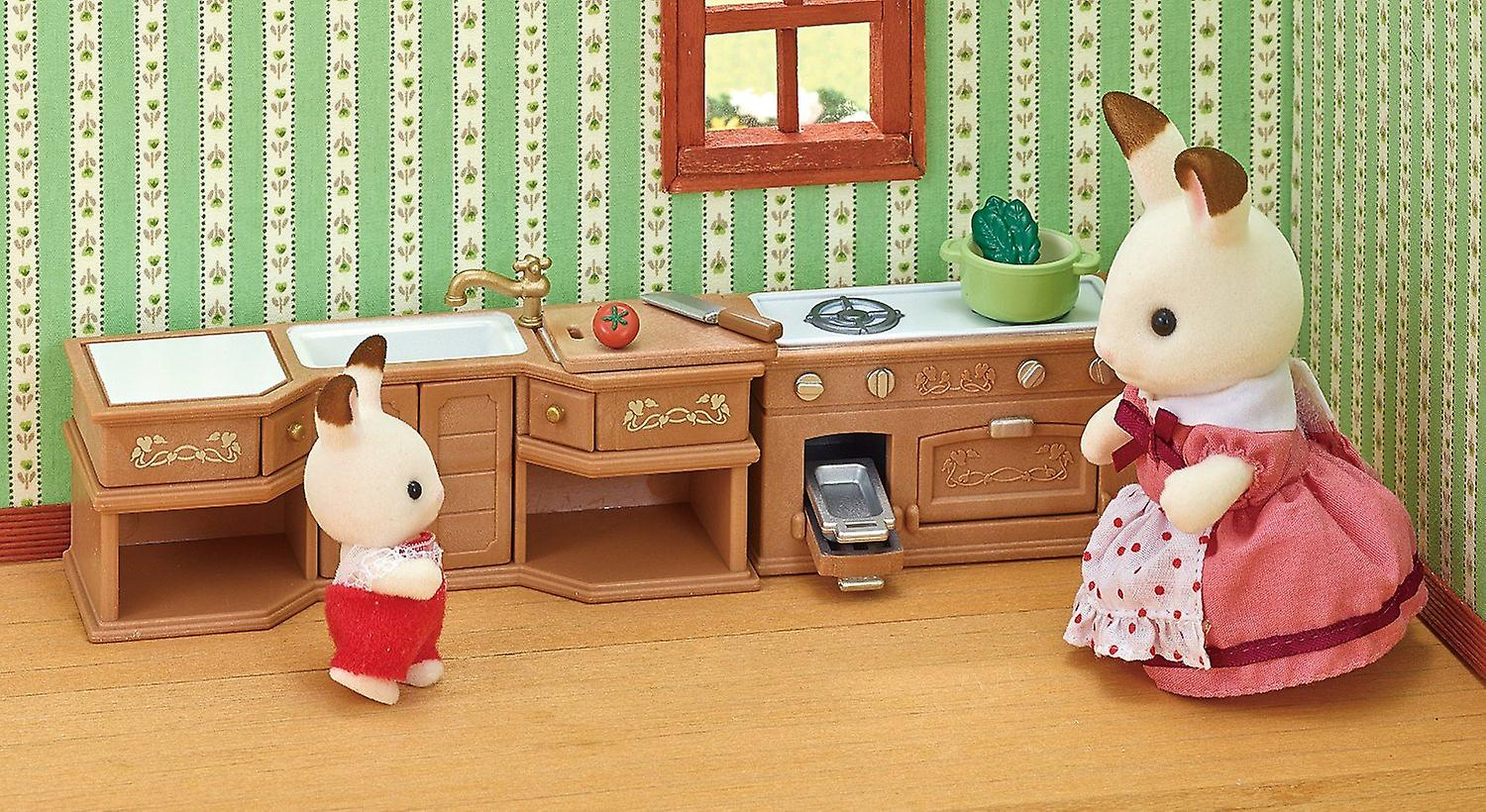 Sylvanian Families Stove, Sink And Counter Kitchen Set