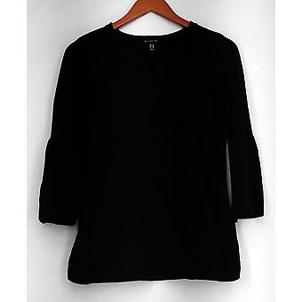 H by Halston Sweater XXS V-neck Bell Sleeve Sweater Tunic Black A297074