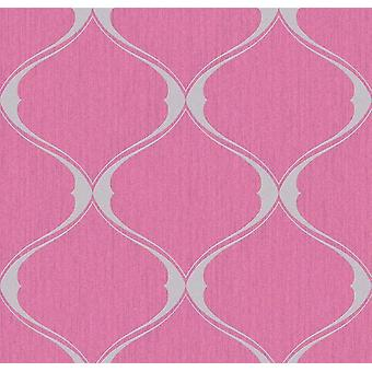 Hot Pink Lattice Trellis Wallpaper Glitter Grey Textured Vinyl Graham Brown