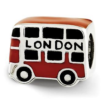 925 Sterling Silber poliert Finish Reflexionen Emaille London Doppeldecker Bus Perle Charme Anhänger Halskette Schmuck Geschenk
