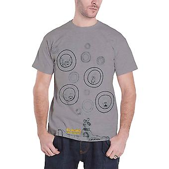 The Beatles Mens T Shirt Grey Yellow Submarine Bubbles band Official