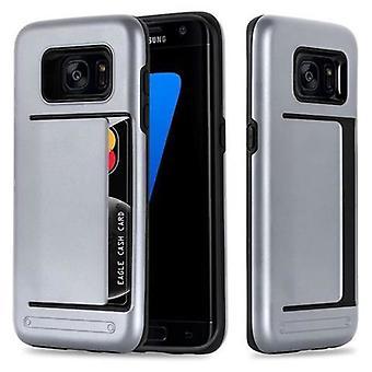 Futerał Cadorabo do Samsung Galaxy S7 EDGE - Etui w KOLORZE ARMOR SILVER - Etui na telefon z obudową na kartę - Silikonowa obudowa TPU do pokrowiec hybrydowy w konstrukcji outdoor heavy duty