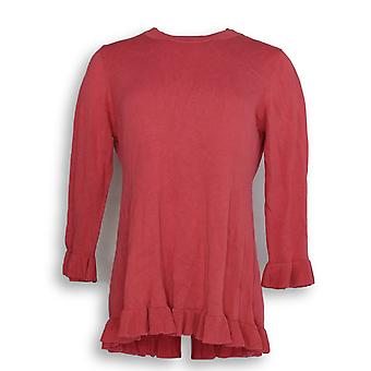 Isaac Mizrahi Live! Vrouwen ' s trui 3/4 mouw peplum trui roze A294255