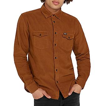 Wrangler Mens Two Pocket Flap Cotton Button Down Long Sleeve Shirt Top - Brown