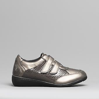 Dr Keller Jess Ladies Touch Fasten Shoes Pewter