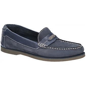 Hush Puppies Finn Mens Leather Loafers Navy