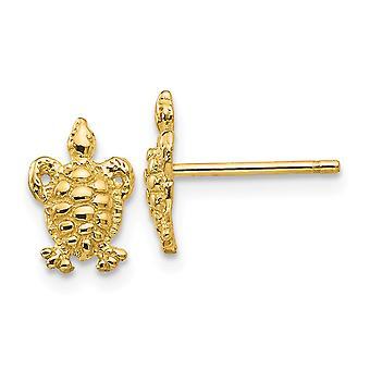 14k gul guld tekstureret poleret Mini til drenge eller piger skildpadde Post øreringe -.9 gram