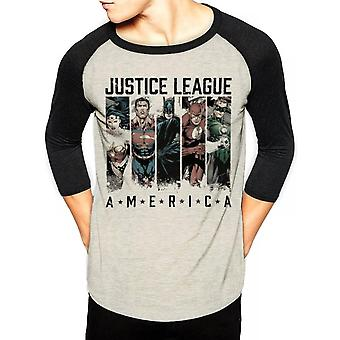 Justice League Unisex Adults America Design 3/4 Baseball Shirt