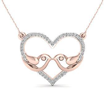 Igi certified 10k rose gold 0.12ct tdw diamond love birds necklace