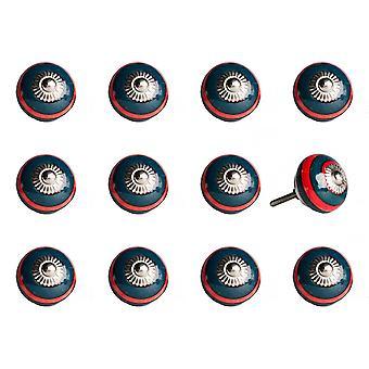 """1.5 """"x 1.5"""" x 1.5 """"keraaminen/metalli laivasto & punainen 12 kpl nuppi"""