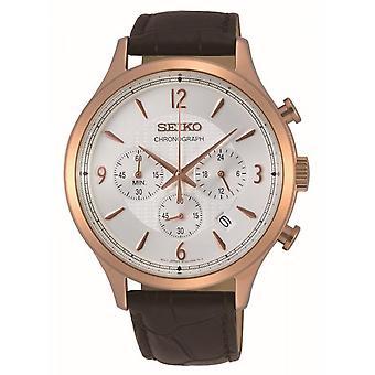 Horloge Seiko SSB342P1-CLASSIC MAN chronograaf/Dateur lederen armband bruin Bo tier staal dor roze mannen