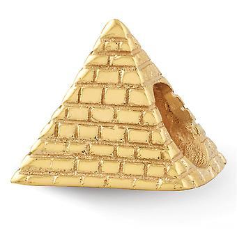 925 Sterling Silver Gepolijst afwerking 14k Vergulde Reflecties Pyramid Bead Charme Hanger Ketting Sieraden Geschenken voor Wo