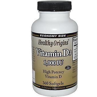 Vitamin D3 1000 IU (360 Softgels) - Healthy Origins