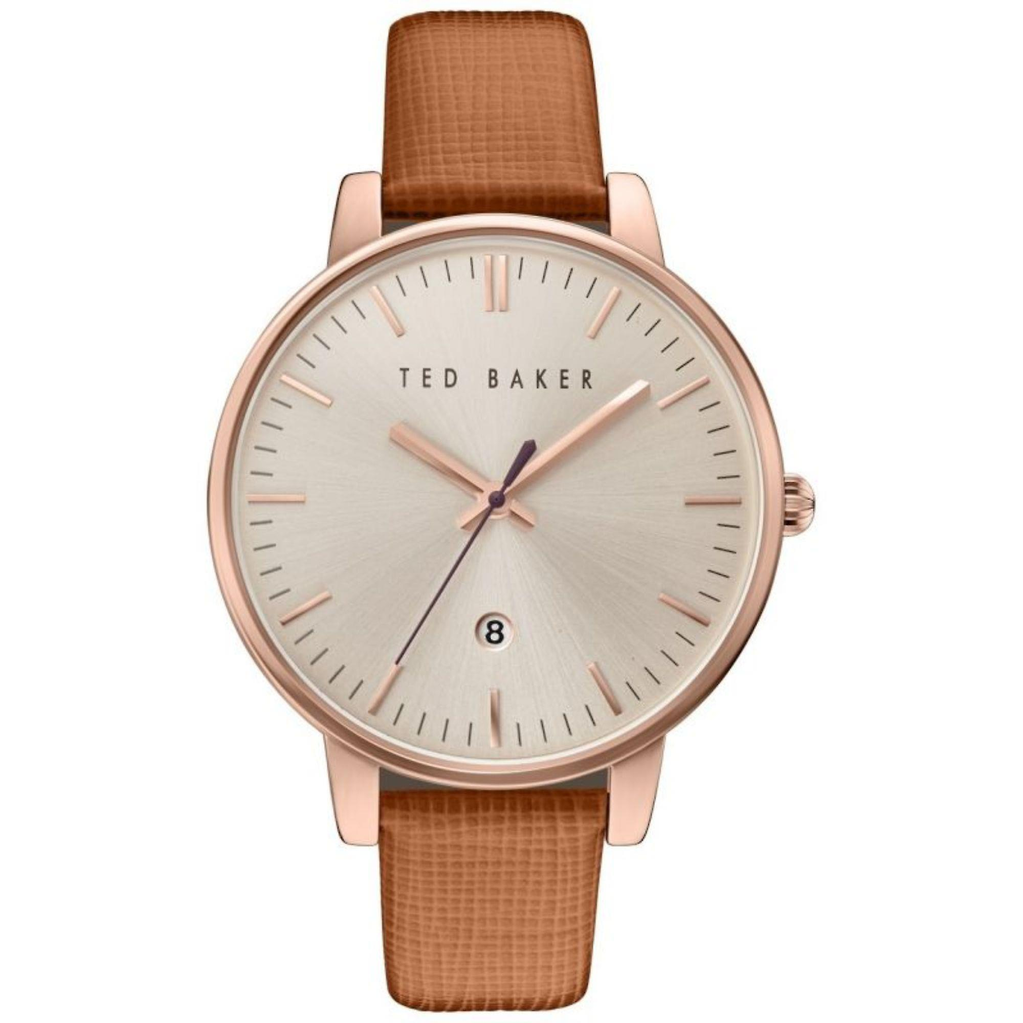 Ted Baker Kate Quartz Silver Dial Brown Leather Strap Ladies Watch TE10030738