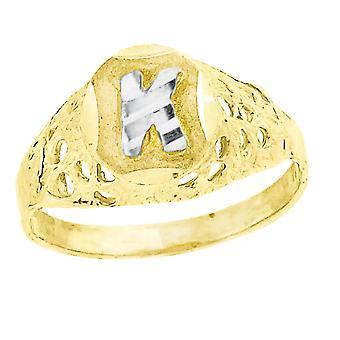 10k kaksi sävy kultaa vauva pojille tai tytöilleLetter Nimi Henkilökohtainen Monogram ensimmäinen K Band Ring Toimenpiteet 7.5x2.20mm Wide S