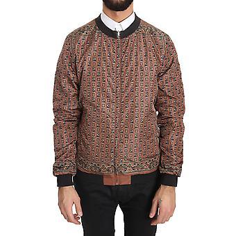 Dolce & Gabbana Gray Print Reversible Bomber Mocha Jacket