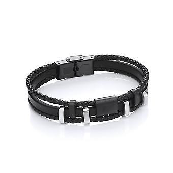 David Deyong Stainless Steel Vegan Leather 3 Strands Woven Bracelet