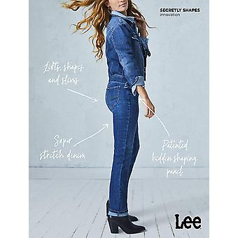 LEE Women's Secretly Shapes Regular Fit Straight Leg Jean, Black, 4 Short Pet...