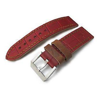 Strapcode crocodile grain watch strap 24mm miltat antipode watch strap matte red crococalf in tan hand stitches
