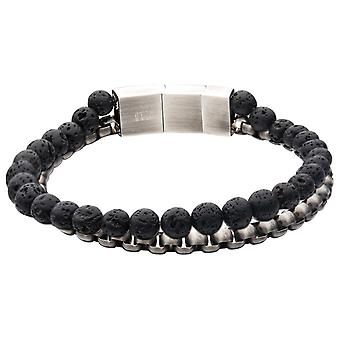 Men's Stainless Steel Bracelet with Lava Stones and Gun Metal Box