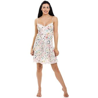 Camille Butterfly Bumble Bee And Floral Print Knee Length Chiffon Chemise