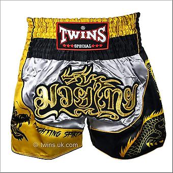 Twins special dragon muay thai shorts - silver & gold