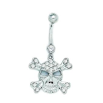 14k White Gold CZ 14 Gauge Dangling Skull Religious Faith Crossbones Body Jewelry Belly Ring Measures 35x18mm Jewelry Gi