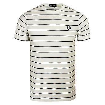 Fred perry men's snow white fine stripe t-shirt