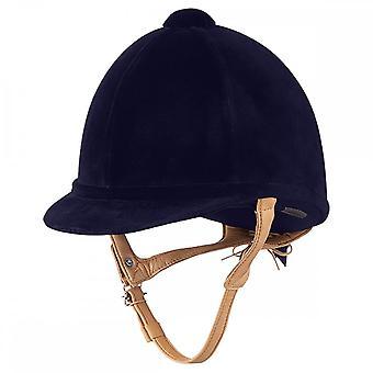 Charles Owen H2000 Velvet Riding Hat - Navy Blue