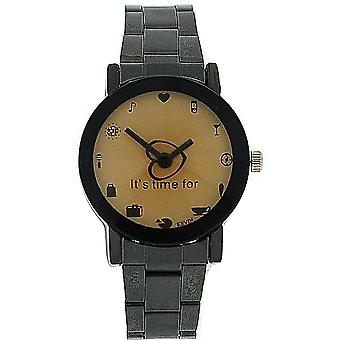 "Kevin Ladies ""It's Time For...."" Faceted Dial Gun Metal Bracelet Strap Watch"