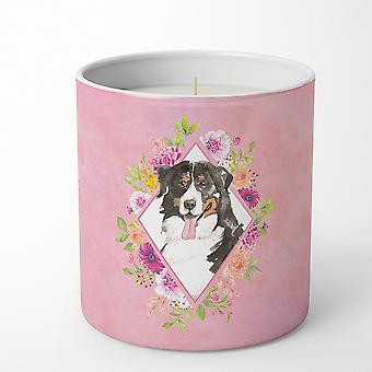 Bernese Mountain Dog Pink Flowers 10 oz Decorative Soy Candle