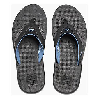 Reef Fanning Flip Flops in Grey/Light Blue