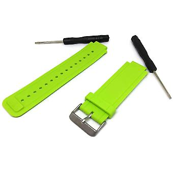 Correa de reloj fabricada por w&cp para adaptarse a la correa de reloj de silicona verde vivoactive garmin con hebilla de acero inoxidable