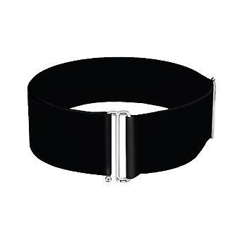 Plain Black Elasticated Wide Cinch Waist Belt