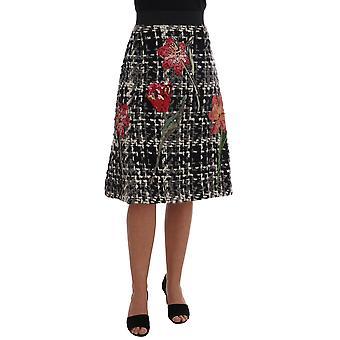 Dolce & Gabbana Black White Wool Sequined Roses  Skirt -- SKI1710064