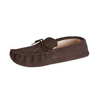 Nordvek Ladies Genuine Wool Lined Moccasin Slippers Soft Suede Sole 431-100