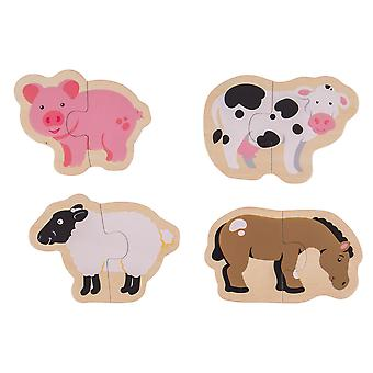 Bigjigs Toys Chunky Wooden Two Piece Jigsaw Puzzles - Farm Animals