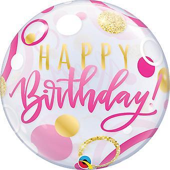 Qualatex 22 Inch Birthday Pink/Gold Dots Single Bubble Balloon