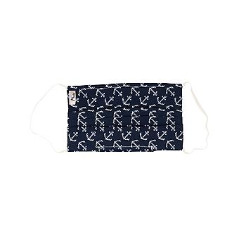 Mio BTS5 Monochrome Anchors White and Navy Cotton Face Mask with Removable Nose Wire