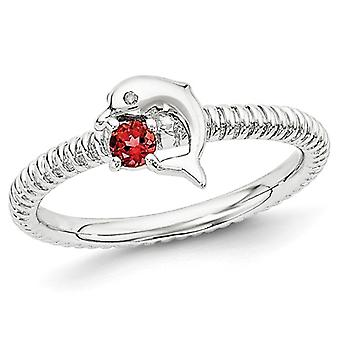 Natural Red Garnet Dolphin Ring 1/8 Carat (ctw) in Sterling Silver