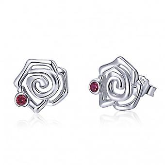 Silver Earrings Rose Flower - 6510